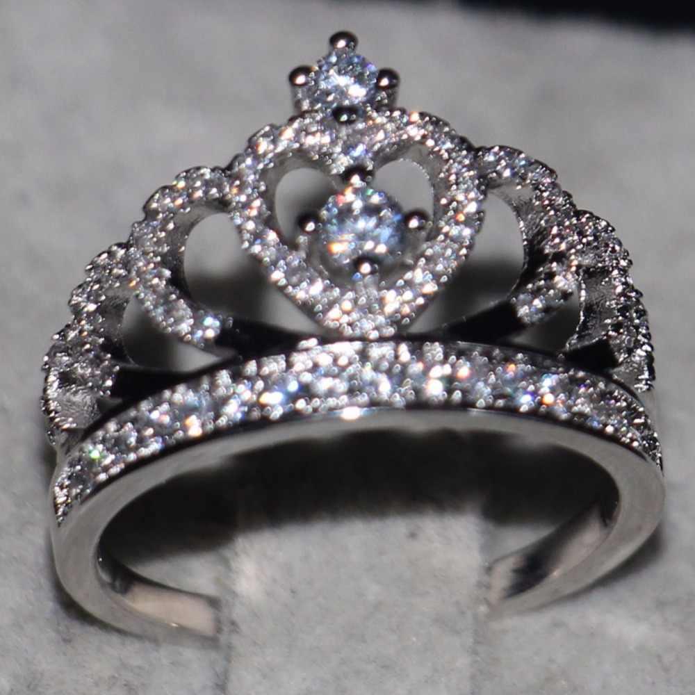 2017 новое поступление, женские модные ювелирные изделия, инкрустированные 925 пробы, серебряные женские CZ камни, обручальное кольцо с короной, Size5-11