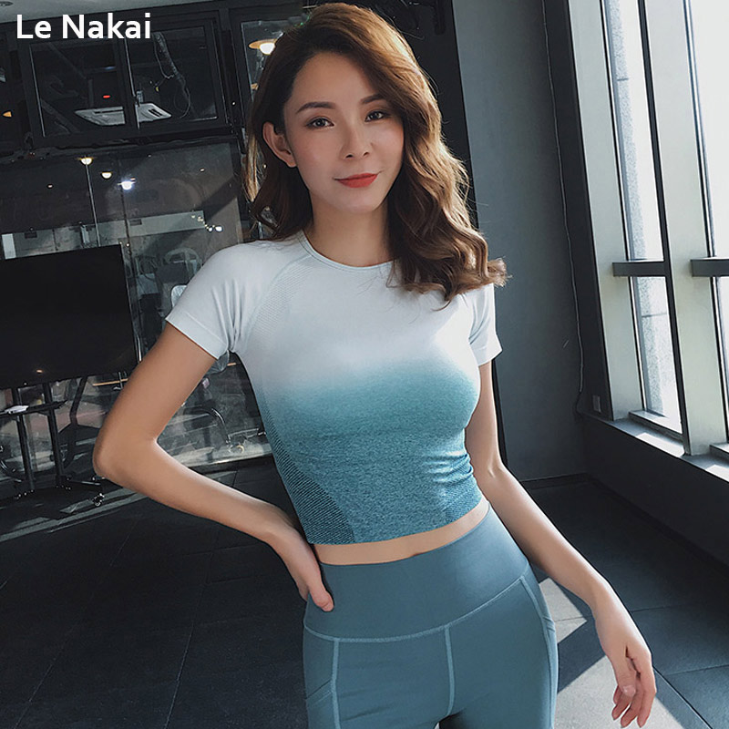Ombre Seamless yoga top shirt workout seamless gym crop top fitness workout tops for women short sleeve gym shirt active jersey