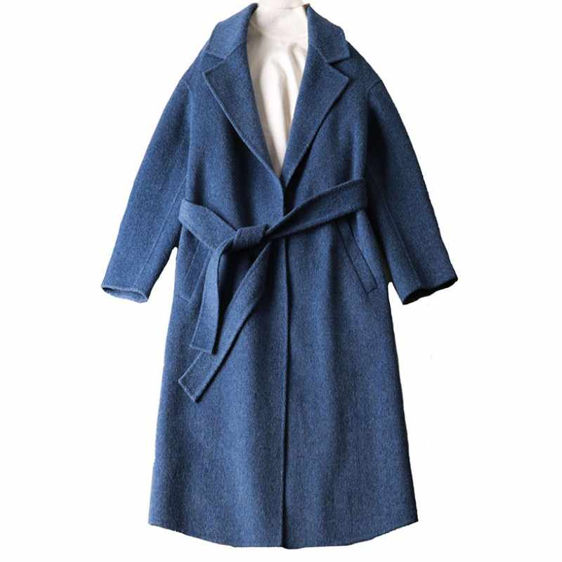 2018 100% wolle mantel hohe qualität kaschmir mäntel solide frauen lange mäntel winter herbst jacke oberbekleidung mode gürtel warme mantel