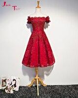 Jark Tozr реальное изображение Праздничное платье Курто де Luxo с открытыми плечами бордовый кружевной коктейль Homecoming платья 2018 AliExpress