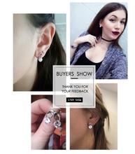 Austria Crystal Wedding pendientes mujer Silver Color Zircon Crystal Stud Earrings Fashion Jewelry for Women brincos
