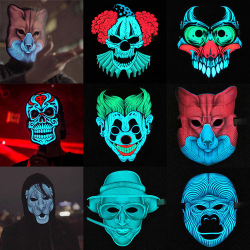 New 10Styles Halloween LED Glow Full Face Mask Purge Movie Dance Rave EL Wire DJ Party Halloween Costume Cosplay