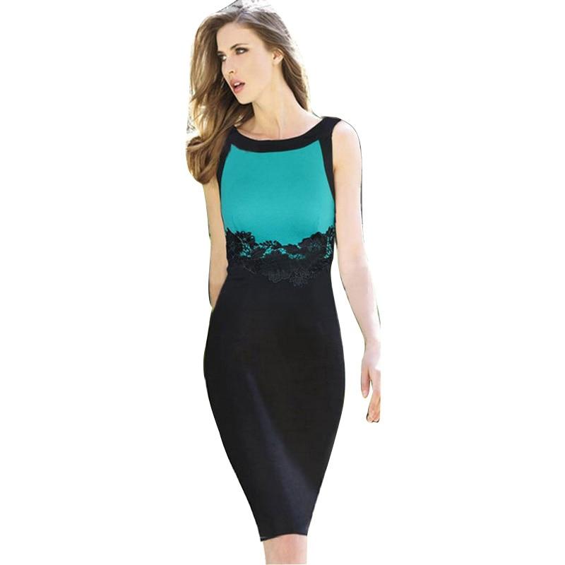 Wholesale Hot Sale New Fashion O-neck Sleeveless Lace Patchwork Knee-length Pencil  Party de65534c7004