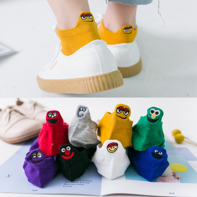 Japan Harajuku Women Candy Color Cotton Short Socks Stereoscopic Heel Embroidered Smiley Face Funny Socks Unisex Happy Socks