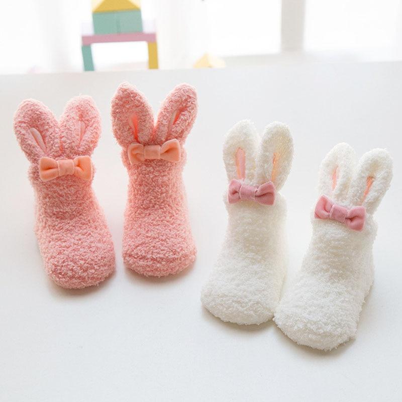 Baby socks in autumn and winter thicken baby  coralline velvet cute little white rabbit girl
