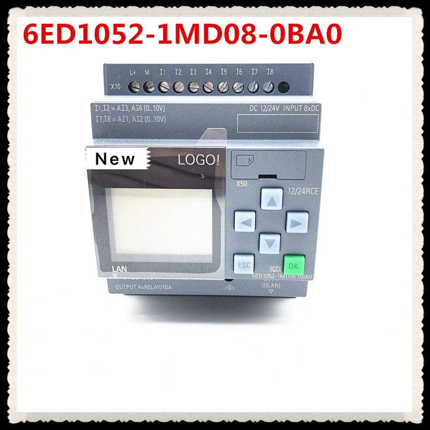 Original novo LOGOTIPO 6ED1052-1MD08-0BA0 12/24RCE PLC Com Display Module 12/24 V DC/RELÉ 8 DI 4AI 6ED1 052-1MD08-0BA0 PLC