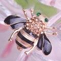 Amarelo bonito insetos abelha Corsages esmalte preto Champagne cristal broches buquê antigo banhado a ouro broche mulheres jóias pinos