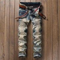 New Brand Mens Classic retro Jeans Pants Slim Fit  Denim Joggers Male Club Wear Straight Jean Trousers, mens fashion jeans men