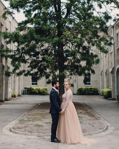 2019 Champagne Wedding Dresses Lace and Tulle Maternity Pregnant Plus Size V Neck Long Sleeve Vestido de Novia robe mariage in Wedding Dresses from Weddings Events