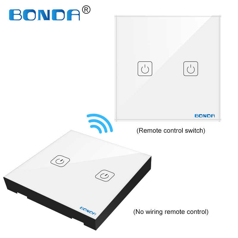 BONDA EU/UC The smart home touch switch induction type non-woven wire is randomly attached to the toughened glass panel through