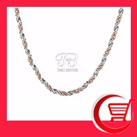 18 22 30 316L Stainless Steel Rope and Gold Plated Bead Wrapped Chain Necklace in Stock