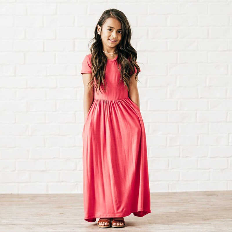 b0b347107f7 Для девочек длинное платье 2018 Новое Летняя Одежда для девочек дети  короткий рукав одноцветное платье Детская