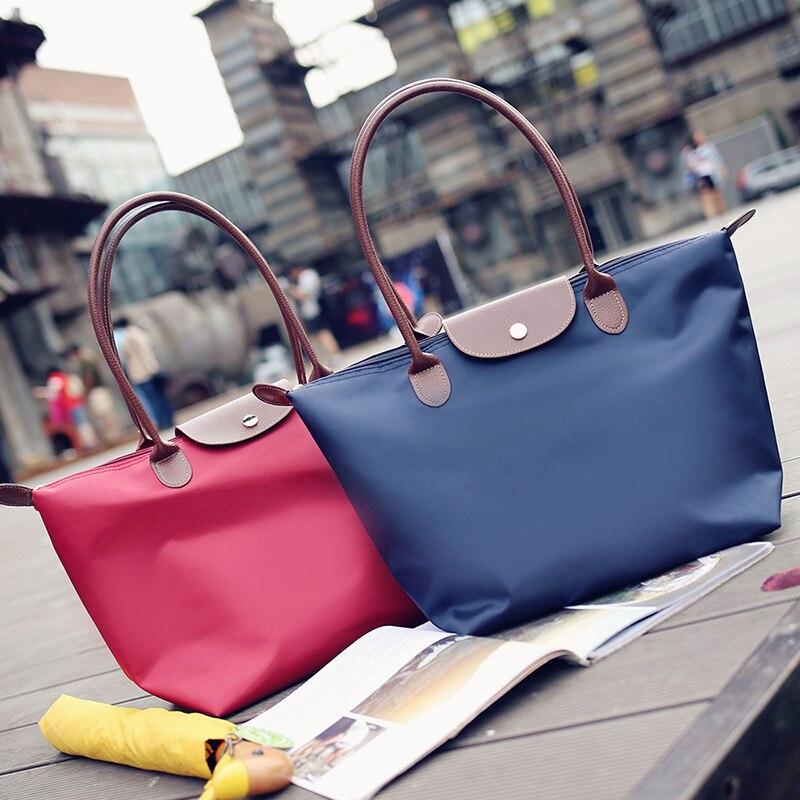 Women-Beach-Bags-Shoulder-Mummy-Handbag-WaterProof-Nylon-Folding-Tote-Long-Large-Capacious-Shopping-Champagne-Bag