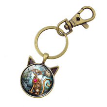 Vintage Steampunk Mechanical Gear Cat keychain Glass Dome Cabochon key chain pendant Charm Jewelry Bronze Cat ear key ring