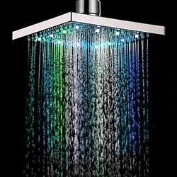 7 kolory automatyczna zmiana LED deszczownica głowy 8 cal ABS chrome nie ma potrzeby zasilania elektrycznego łazienka z wanną prysznic głowy 1/2