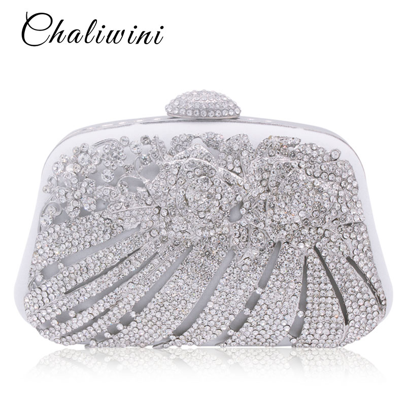 Chaliwini Metallic Hollow Out Crystal Floral Women Evening Clutch Bag Bridal Wedding Rhinestones Knucklebox Purse Handbag