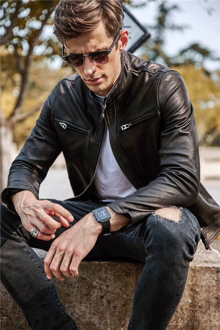 Free Shipping.Sales Quality Vintage Goathide Leather Men Jackets,men's Genuine Leather Jacket,classic Motorcycle Biker.casual