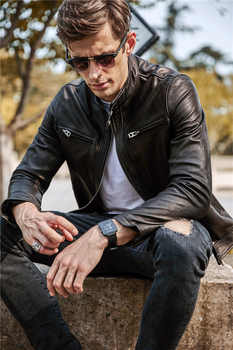 Free shipping.Sales quality vintage goathide leather men jackets,men\'s genuine leather jacket,classic motorcycle biker.casual - DISCOUNT ITEM  10 OFF Men\'s Clothing