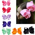 "32PCS/LOT 6"" Big Hair Bow Girls Solid Ribbon Hair Bows With Clip Boutique Hair Clip Hairpin Baby Hair Accessories Kids Hairpin"