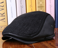 Winter Black Women Men Berets Hats Cowskin Genuine Leather Hats Thicker Warm Caps For Old Man20170739