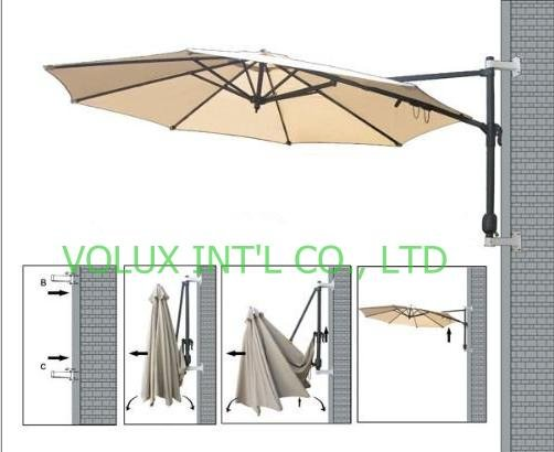Wall Mounted Umbrella Patio Aluminum Umbrella In Patio