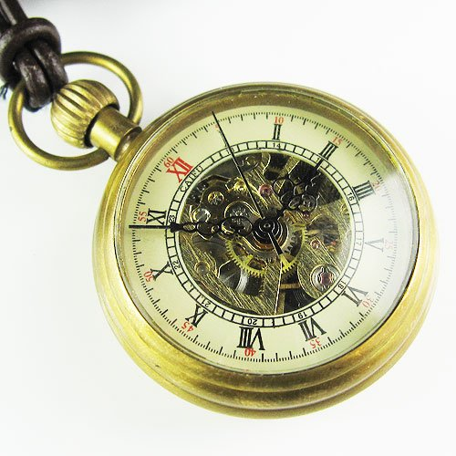 Old Good Brass Antique Small Hollow Mechanical Pocket Watch+Leather Chain Freeship