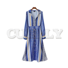 CUERLY women chic striped shirt dress bow tie sashes turn down collar long sleeve female casual midi dresses vestidos cuerly 2019 women solid pleated shirt dress buttons long sleeve turn down collar female casual mini dresses vintage vestido
