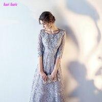 Elegant Silver Plus Size Evening Gowns 2018 Scoop Lace A Line Tea Length Women Formal Evening Dresses Long Evening Party Dress