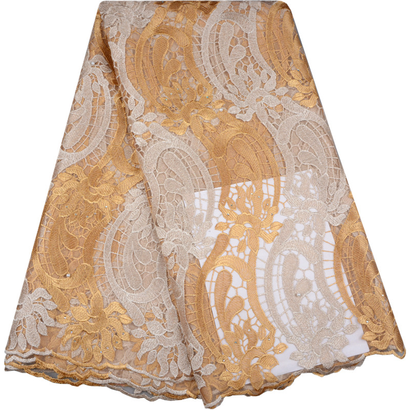 Gold Color African Lace Fabric Embroidered Nigerian Laces Fabric For Bridal High Quality French Tulle Lace