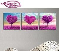 3 sztuk 5d diament malarstwo fioletowe Drzewa Miłości diamentowe wiertło haft mozaiki nowoczesne tryptyk home decoration 3d malowanie prezenty