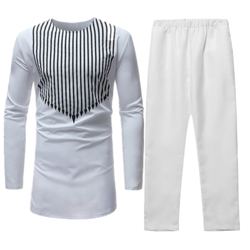 Men Sets Traditional African Africa Clothing Cotton White Dashiki Bazin Riche Print Top Shirt Pants Two Piece Mens Suit Outfits