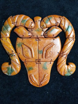 Antique jade pieces splicing the old objects of old objects of sheep head ornaments