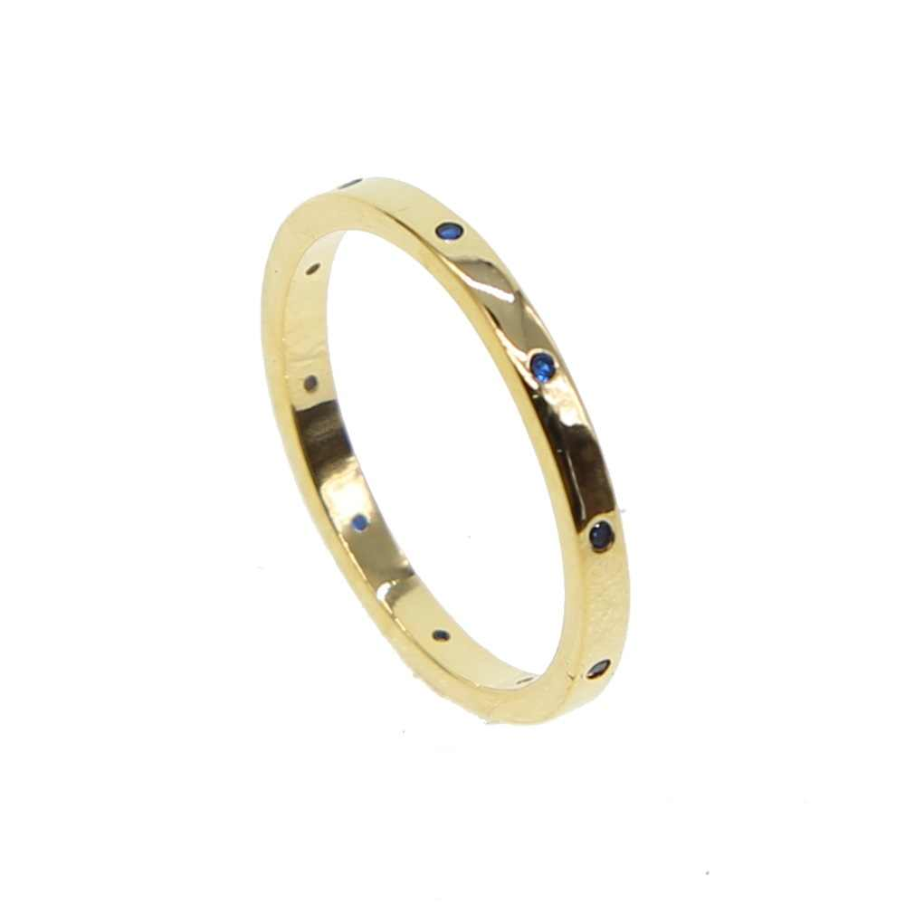 Gold color band ring inset blue cubic zirconia cz high polished simple fashion finger rings simple bands