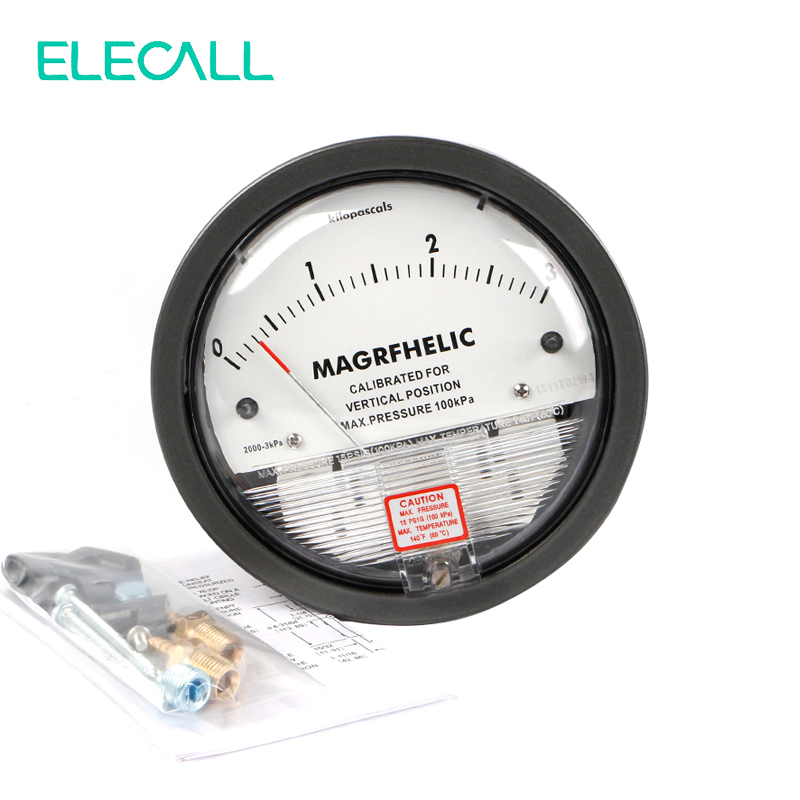 ELECALL 0-3KPA TE2000 Micro Differential Pressure Gauge High Precision 1/8 NPT Air Pressure Meter Barometer 0 1kpa micro differential pressure gauge te2000 high precision 1 8 npt air pressure meter barometer best sale