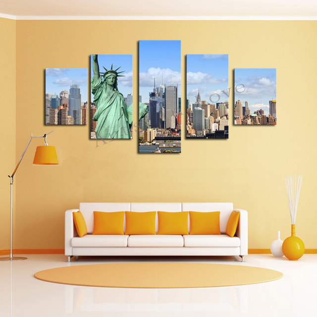 ef6df98b9cd2 Paintings Painting Cheap Without Frame 5 Panels Picture New York City Hd  Canvas Print Painting Artwork Wall Art Wholesale