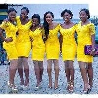 Кружева платья невесты Короткие Платья для вечеринок пикантные Нигерия Южная Африка v образным вырезом оболочки Короткие Желтый с короткий
