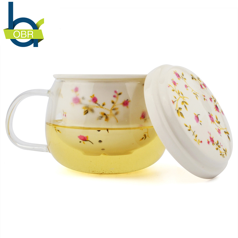 Flower TeaCups Teapot With Lid Tea Leaves Filter Strainer Lemon Tea Maker Coffee Infusers Mug Glass+Ceramic For Creative Gift