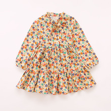 2017 New Children Spring Floral Retro Dress Korean Fashion Girl Long Sleeve Princess Dresses Kids Clothes Pretty Dress