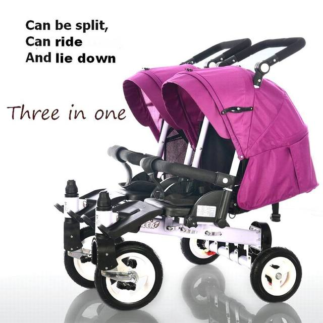 design pram stroller Baby single double folding trolley twins tricycle car bike baby stroller can sit and lie down for 0-6 years