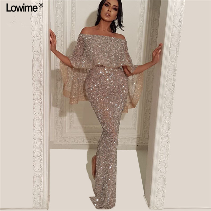 Dubai Style Sparkly Long Mermaid   Prom     Dresses   Off-Shoulder Long Sleeve Split Behind Sexy Evening Ladies   Prom   Party Gowns Custom