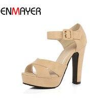 ENMAYER 2014 New Ankle Strap Summer Shoes Women High Heeled Sandals Fashion Women Sandals Wedding Girls