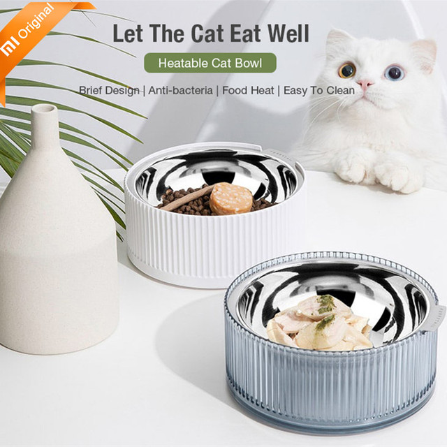 New Xiaomi Stainless Steel Heatable Cat Bowl Pet Dog Food Drink Water Tilted Feeder Feeding Dish Bowl Anti-overflow Shallow Bowl