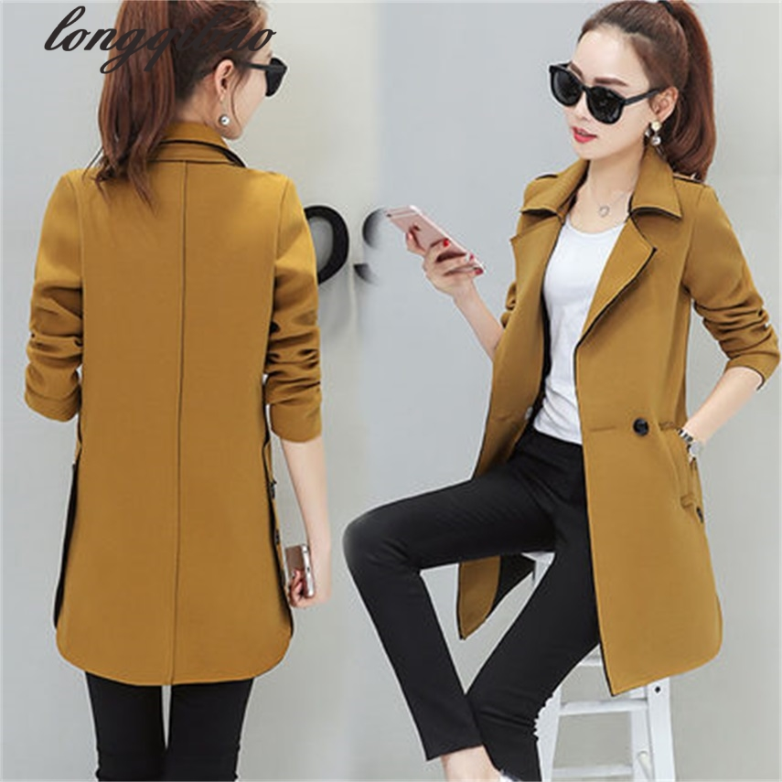 2017 Spring and autumn new casual Slim woman casual women long section windbreaker TB7058