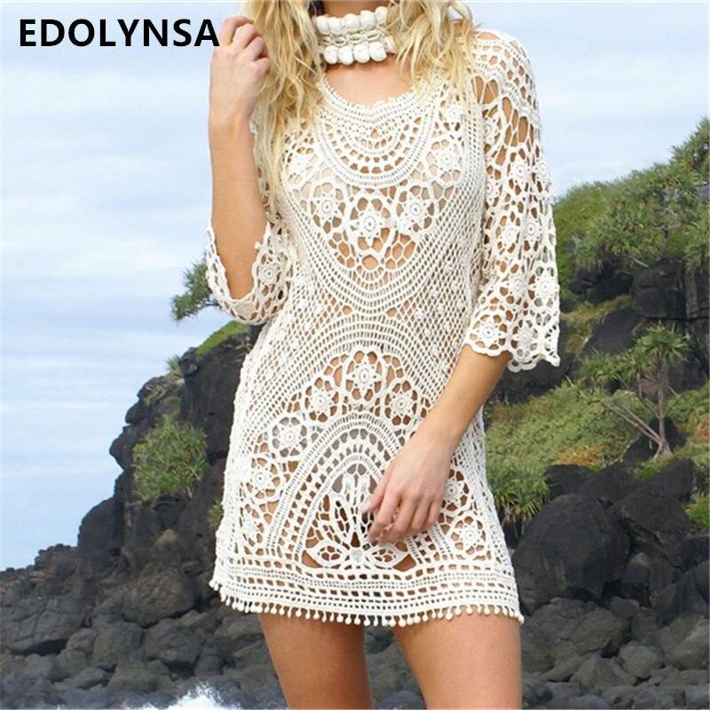 Neuheiten Sexy Strand Cover up Backless Häkeln Bademode Kleid Tuniken für Strand Frauen Bademode Coverups Saida de Praia # q211