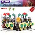 10 Lotes de Castillo Medieval Dragón Rojo Sombra Azul Rey Caballero Pesado Escudo Building Blocks Ladrillos Mini Muñecas Mejores Hijos juguetes