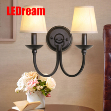 American style, wrought iron wall lamp of bedroom the head a bed, sitting room background lens headlight study
