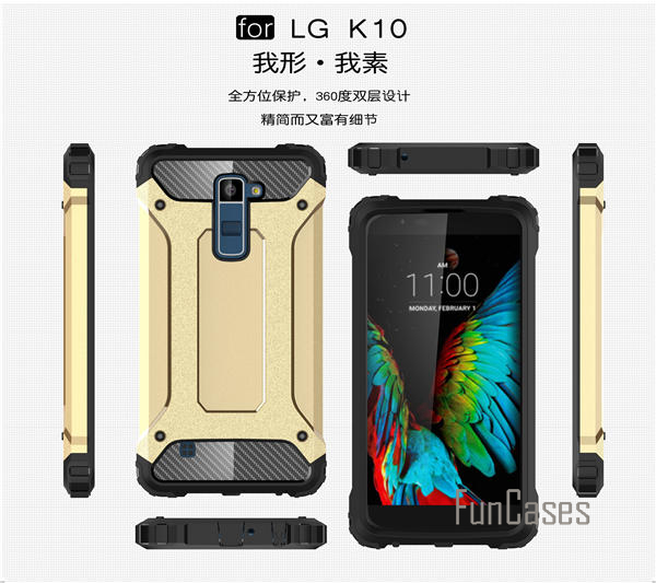 Anti-Shock Armor Case for LG K10 Case Armor Silicone Hybrid Hard PC Case for LG K10 M2 Cover F670 K420N K430DS 5.3 inch