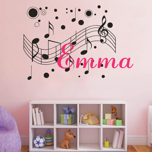 Musical Notes Customized Name Monogram Wall Decal Boys Girls - Monogram vinyl wall decals for boys