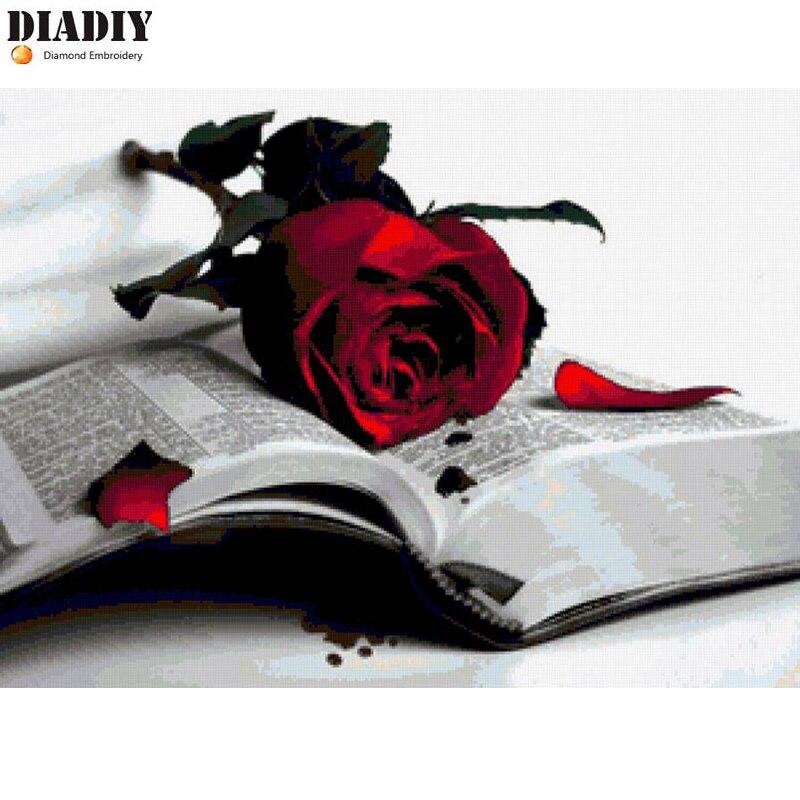"""Diadiy квадратная мозаика квадратный алмаз алмазная живопись 5D «сделай сам» фото на заказ """"Розы и книги"""" 3D вышивка крестиком мозаичный Декор подарок"""
