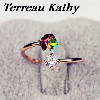 Terreau Kathy 2016 New Fashion Jewelry Luxury Design Rose Gold Color Bow Zircon Rings For Women